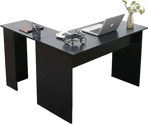 Ivinta Corner Desk Modern L Shaped Desk Computer Table Simplest Gaming Desk Writing Desk Workstation for Home Office Small Space,Dark Brown,44×58 inch