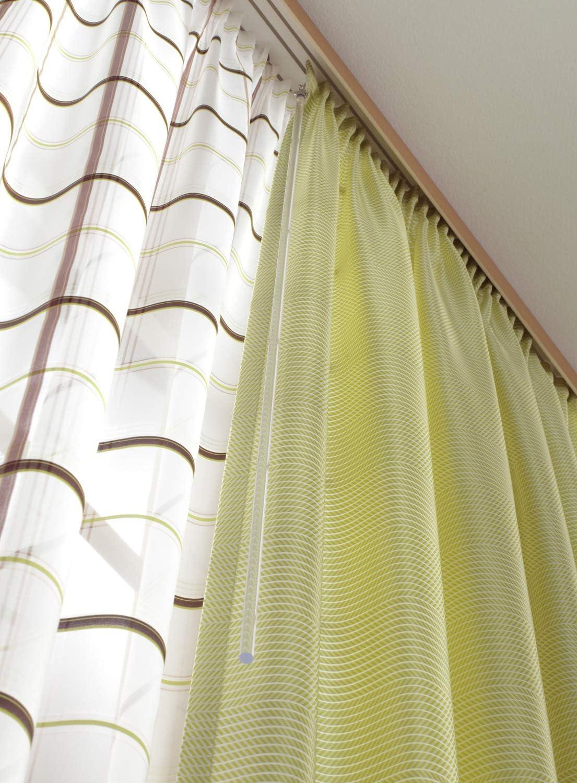 Blanc avec crochets en m/étal GARDINIA Barre de tirage pour rideaux et draperies Paquet de 2 M/étal Longueur 75 cm