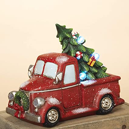 Car Christmas Tree.Lighted Red Vintage Holiday Vehicle With Christmas Tree Tabletop Holiday Decoration Truck