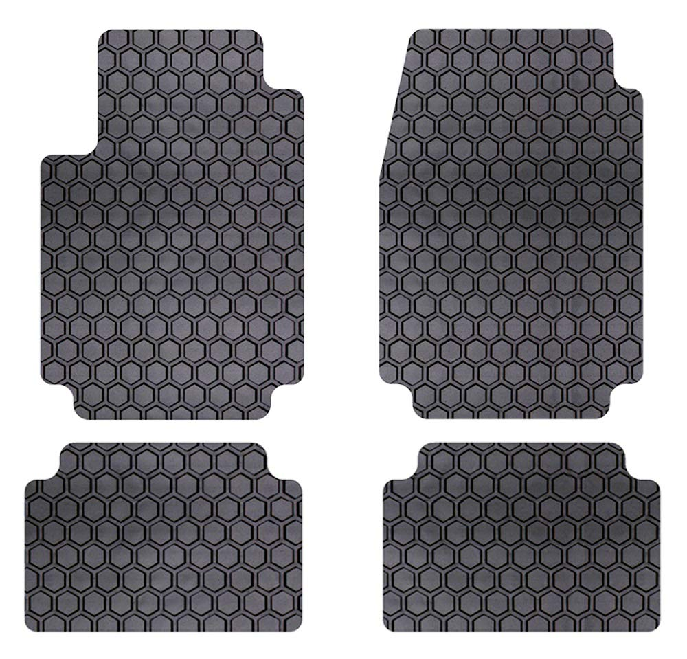 Custom Fit Auto Floor Mats for Select Subaru WRX STI Models Intro-Tech SB-180-RT-G Hexomat Front and Second Row 4 pc Rubber-Like Compound Gray