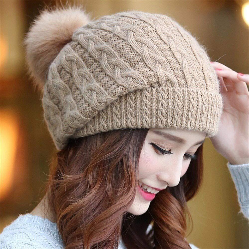 Tuyishangmao Knit Beanie Hat, Casual Solid Color Fur Pompoms Winter Beanie Hat (Color : Khaki, Size : M)