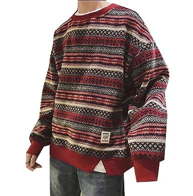 YUNY Mens Baggy Fashion Plus Size Printing Pattern Sweatshirts Wine Red 2XL