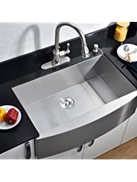 vccucine commercial 33inch farmhouse apron undermount handmade single bowl brushed nickel kitchen sink