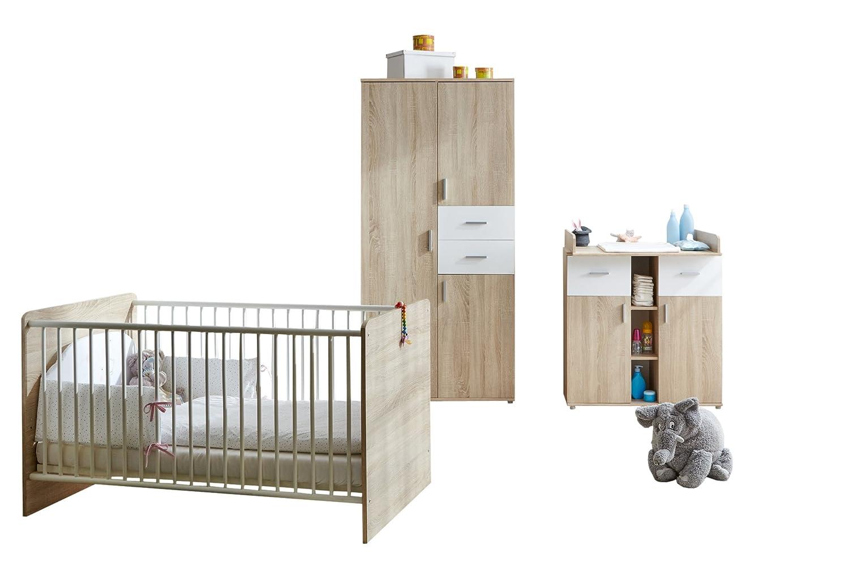 TICAA Babyzimmer Nico 3-teilig Sonoma-Weiß