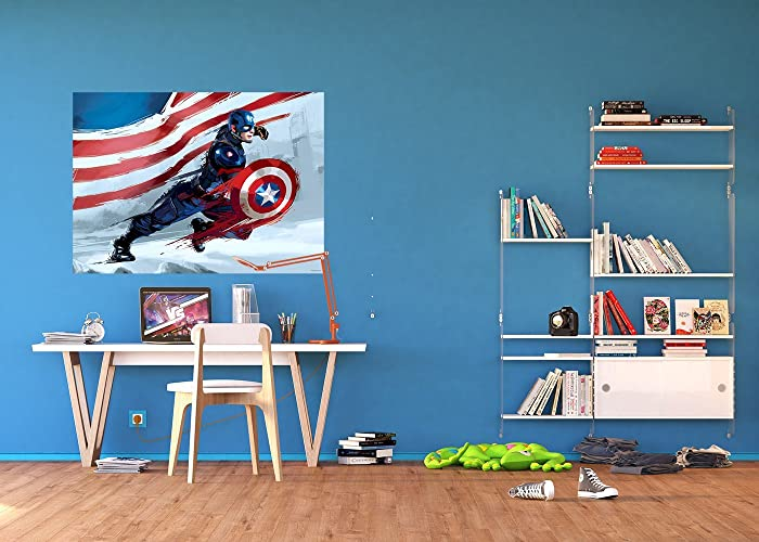 WallandMore Marvel Avengers Wall Decal Mural For Children Room 63u0026quot; W  By 45u0026quot; H