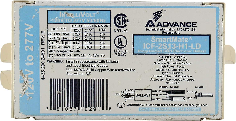 10 Watt CFL 1.0 Ballast Factor Programmed Start Advance SmartMate ICF-2S13-H1-LD - Lamp Fluorescent Ballast 2 120//277 Volt