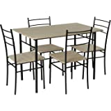 Marko Furniture Casablanca 5PC Dining Table 4 Chairs Dining Set Kitchen Furniture Metal Frame Bistro Set (Black)