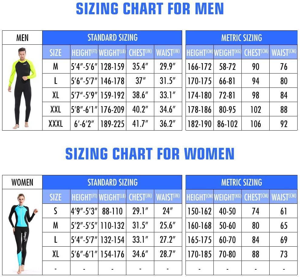 COPOZZ Diving Skin, Men Women Youth Thin Wetsuit Rash Guard- Full Body UV Protection – for Diving Snorkeling Surfing Spearfishing Sport Skin