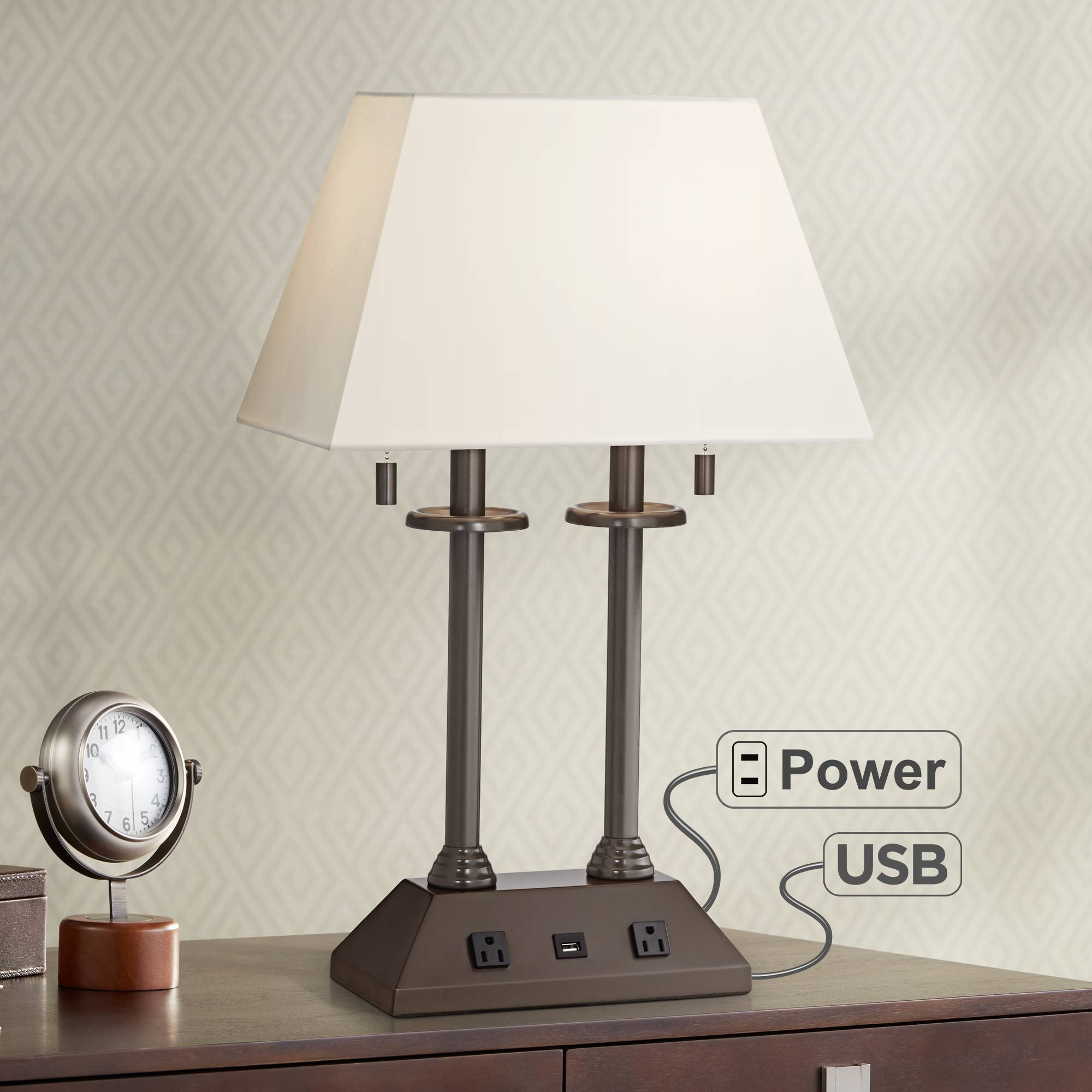 Charlton Traditional Desk Table Lamp with Hotel Style USB and AC Power Outlet in Base Bronze Rectangular Fabric Shade for Bedroom Office - Regency Hill by Regency Hill
