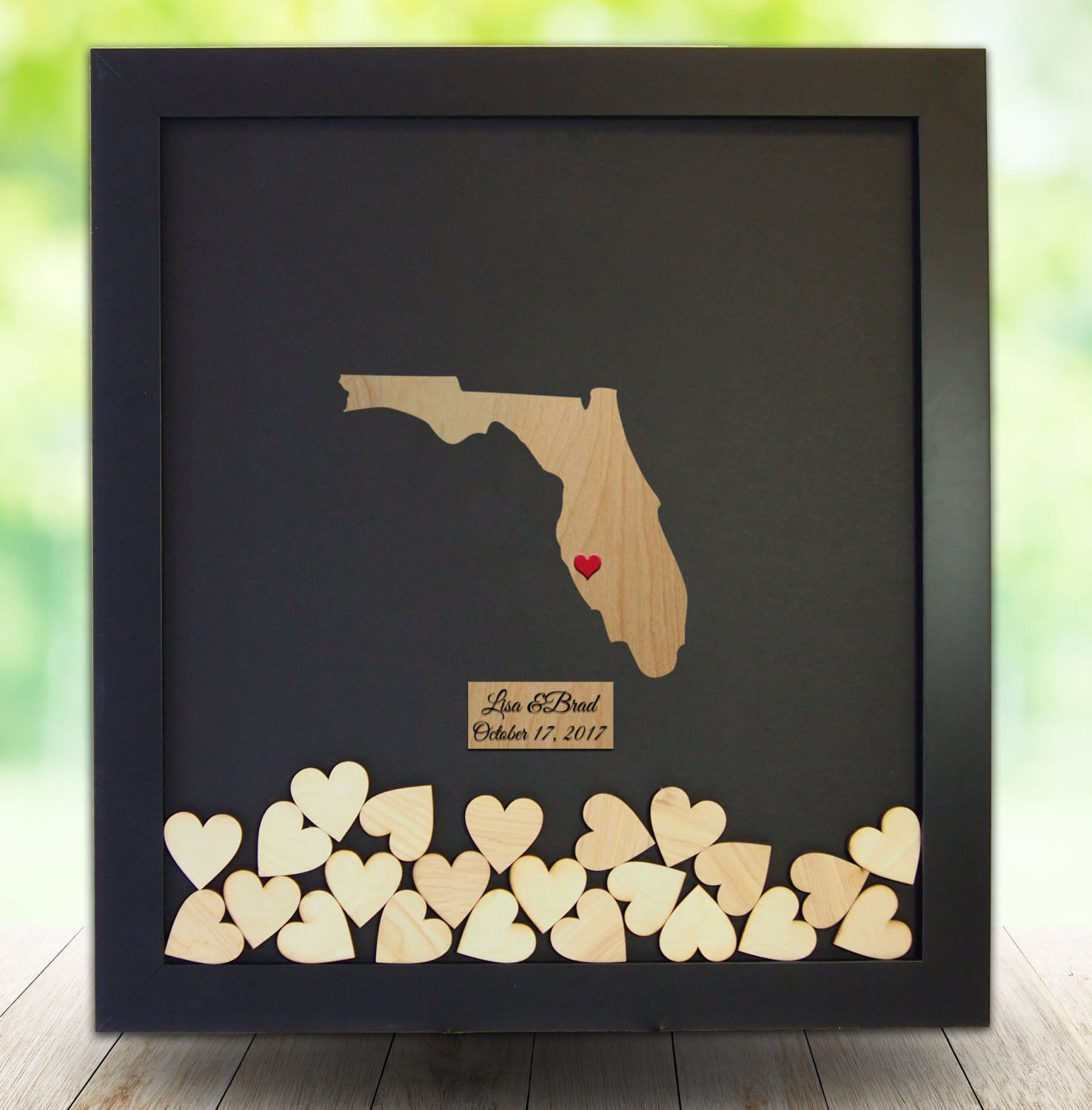 Teisyouhu Florida State Wooden Hearts Decorative Wedding Guest Book Rustic Drop Top Frame Guestbook Sign Name Date Engraved 12 x 14 inch with 120 Hearts