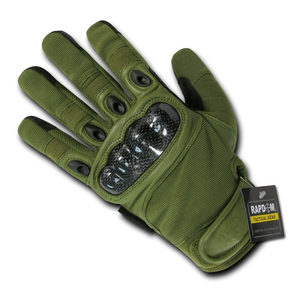 Rapdom Tactical Carbon Fiber Knuckle Gloves Color: Olive Size: Large by RAPDOM