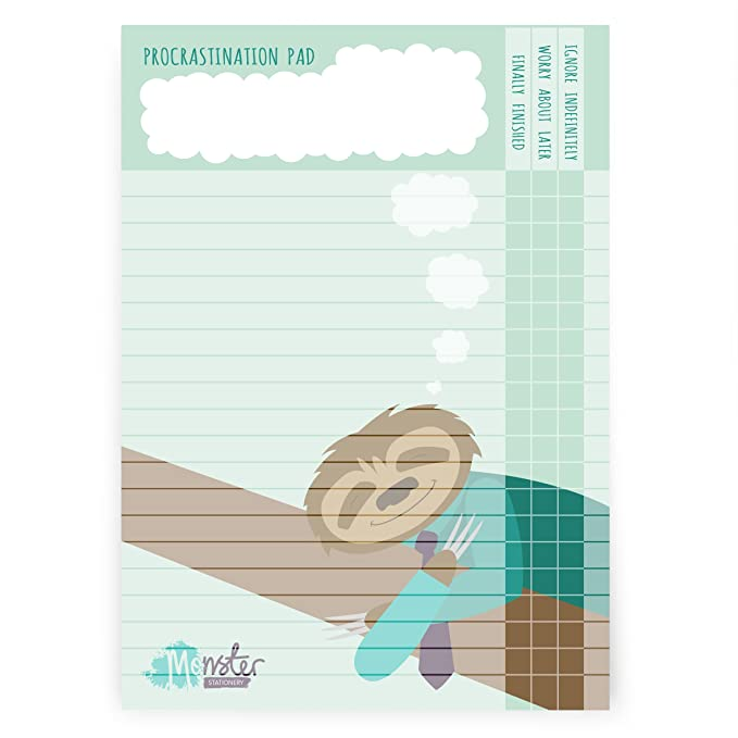 Procrastination Pad A4 - To Do List Pad Daily Desk Planner Schedule- 60 Sheets - 80gsm - Made in UK by Monster Stationery