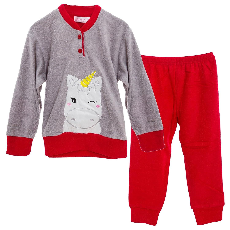Toocool Pigiama Bimba Bambina Maglia Unicorno Pile Caldo Pantaloni Inverno Nuovo L013
