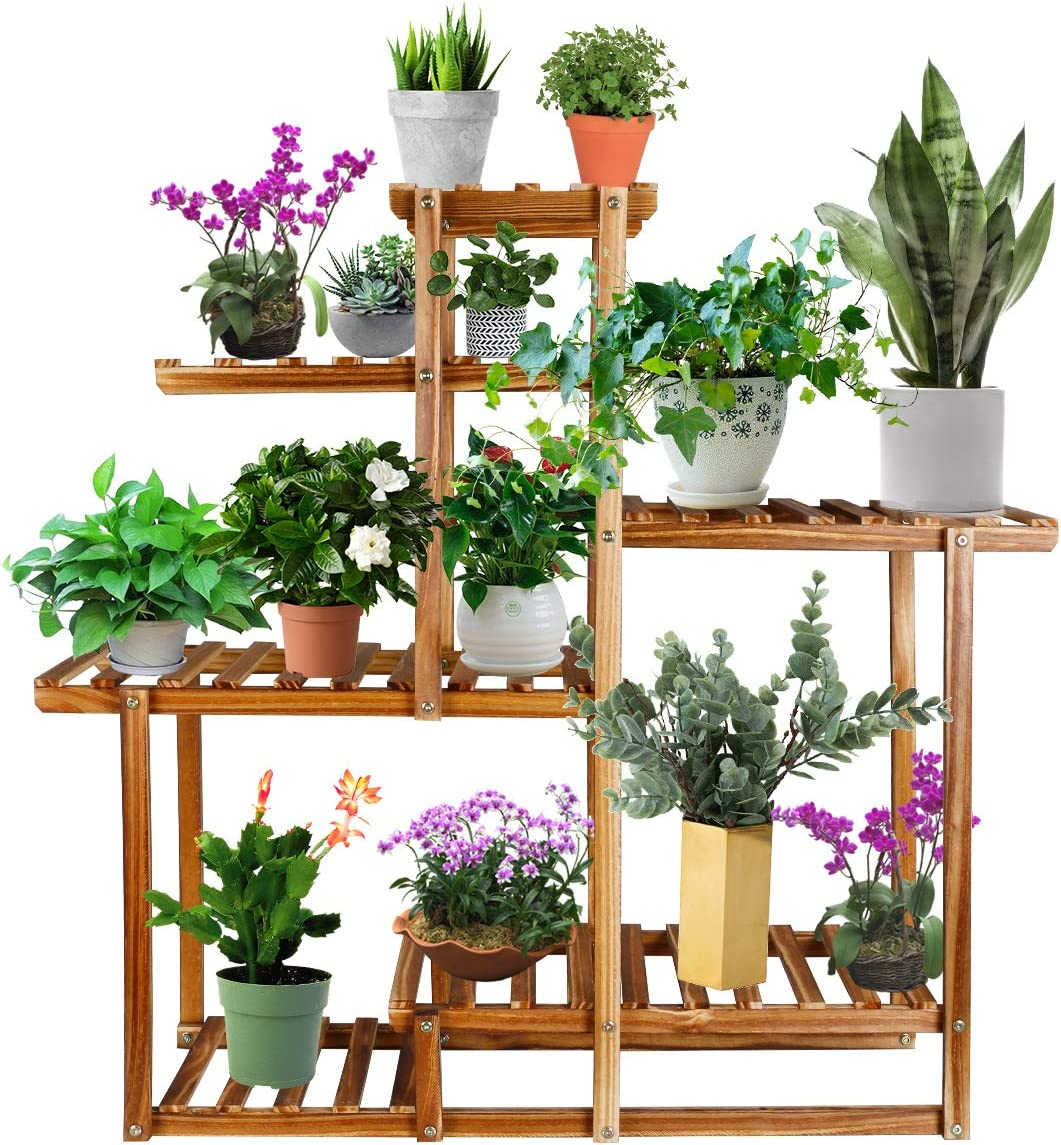 Tiered Wood Plant Stand, Astory 4-Layer 9 PottedFlower Stand Shelf Planter Display Shelving Rack Organizer Indoor Outdoor Flower Ladder for Patio Garden Balcony Yard Living Room (39.2x36x9.9in)