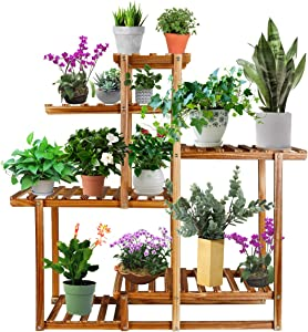 Tiered Wood Plant Stand, Astory 4-Layer 9 Potted Flower Stand Shelf Planter Display Shelving Rack Organizer Indoor Outdoor Flower Ladder for Patio Garden Balcony Yard Living Room (39.2x36x9.9in)