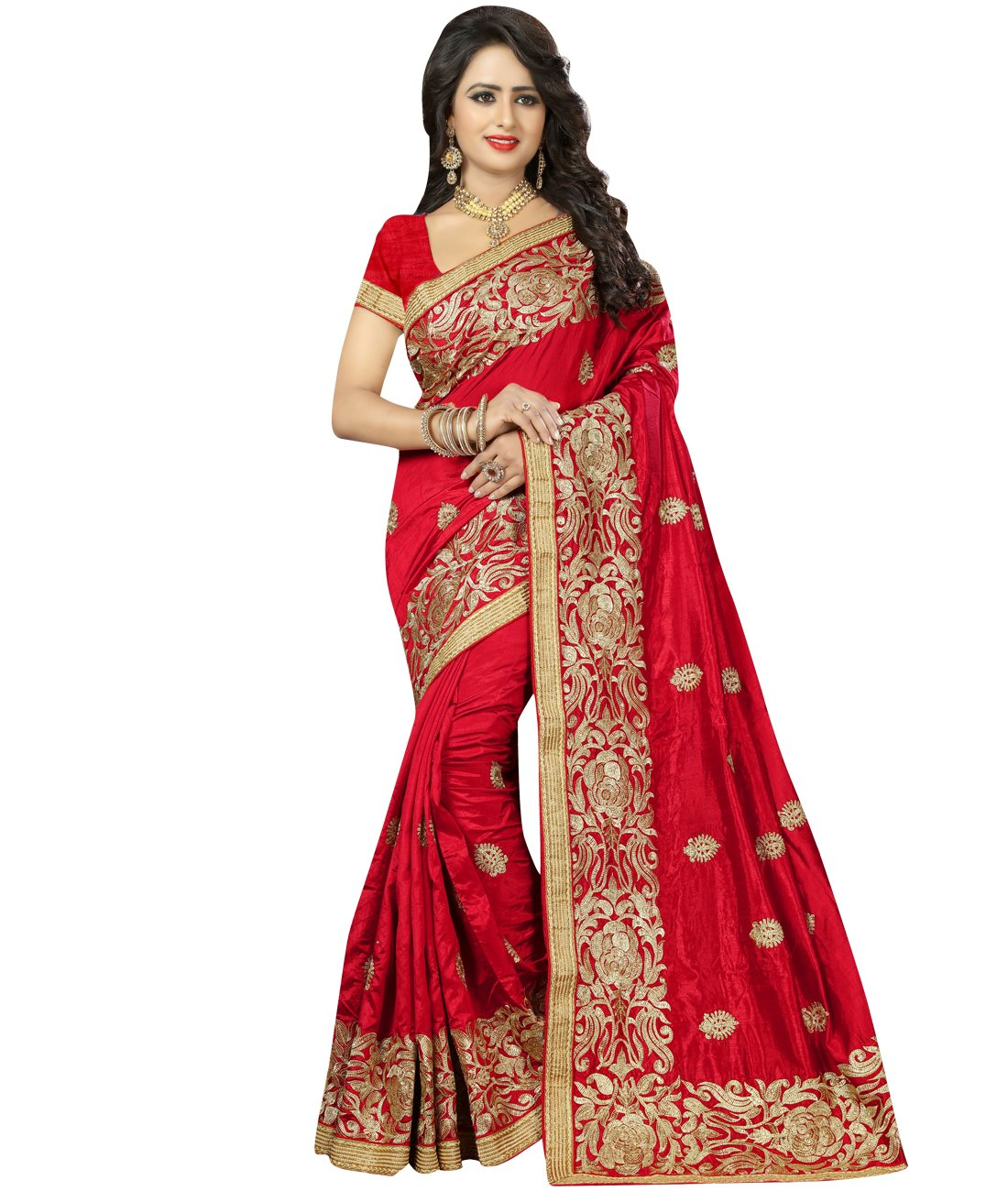Indian Ethnic Art Silk Red Handloom Saree