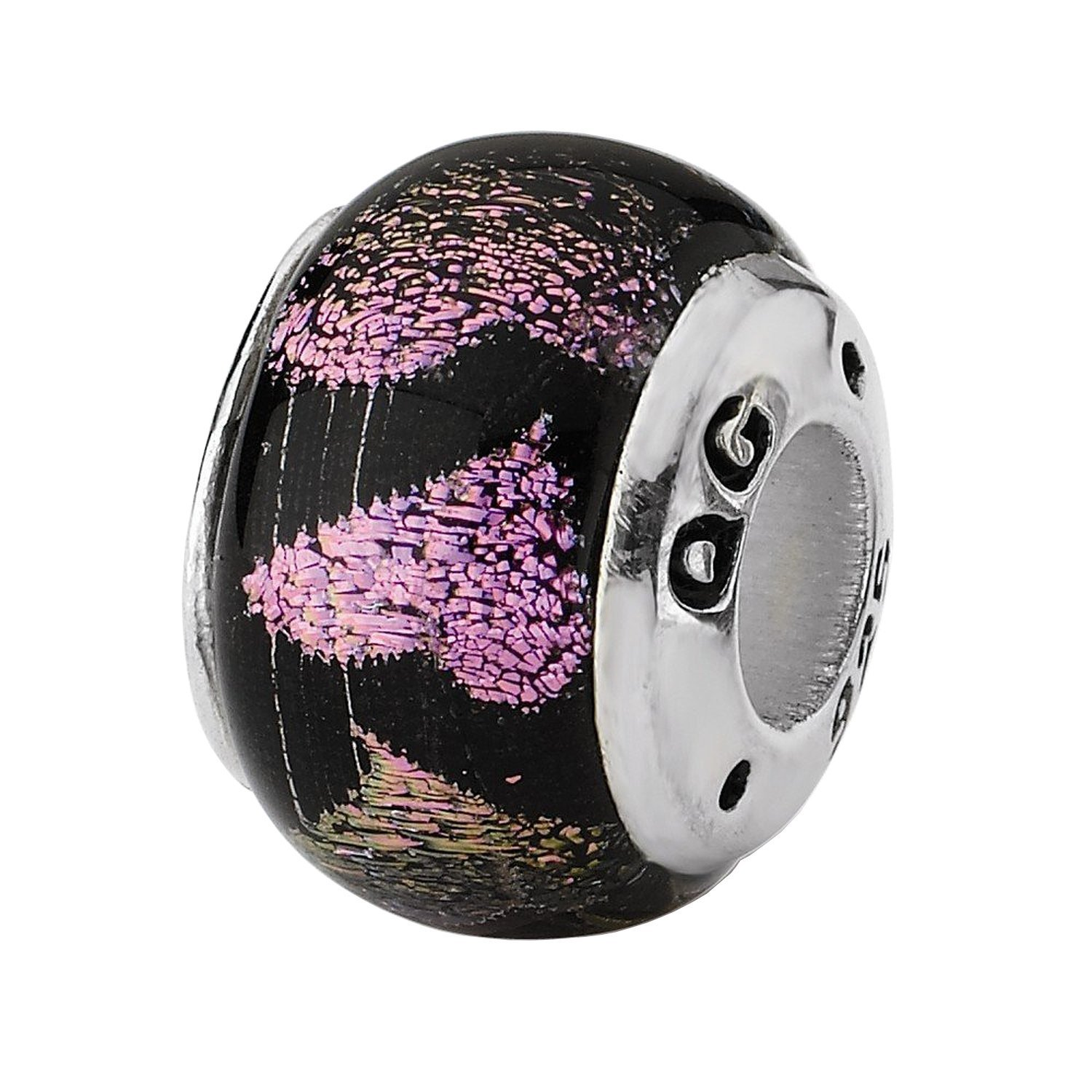 Reflections Sterling Silver Pink/Purple Hearts Dichroic Glass Bead
