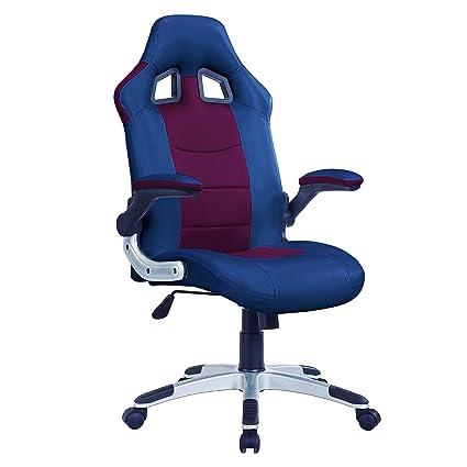 Adec - Silla oficina giratoria, sillon para despacho, estudio o escritorio, modelo Gamer (Azul y Granate): Amazon.es: Hogar