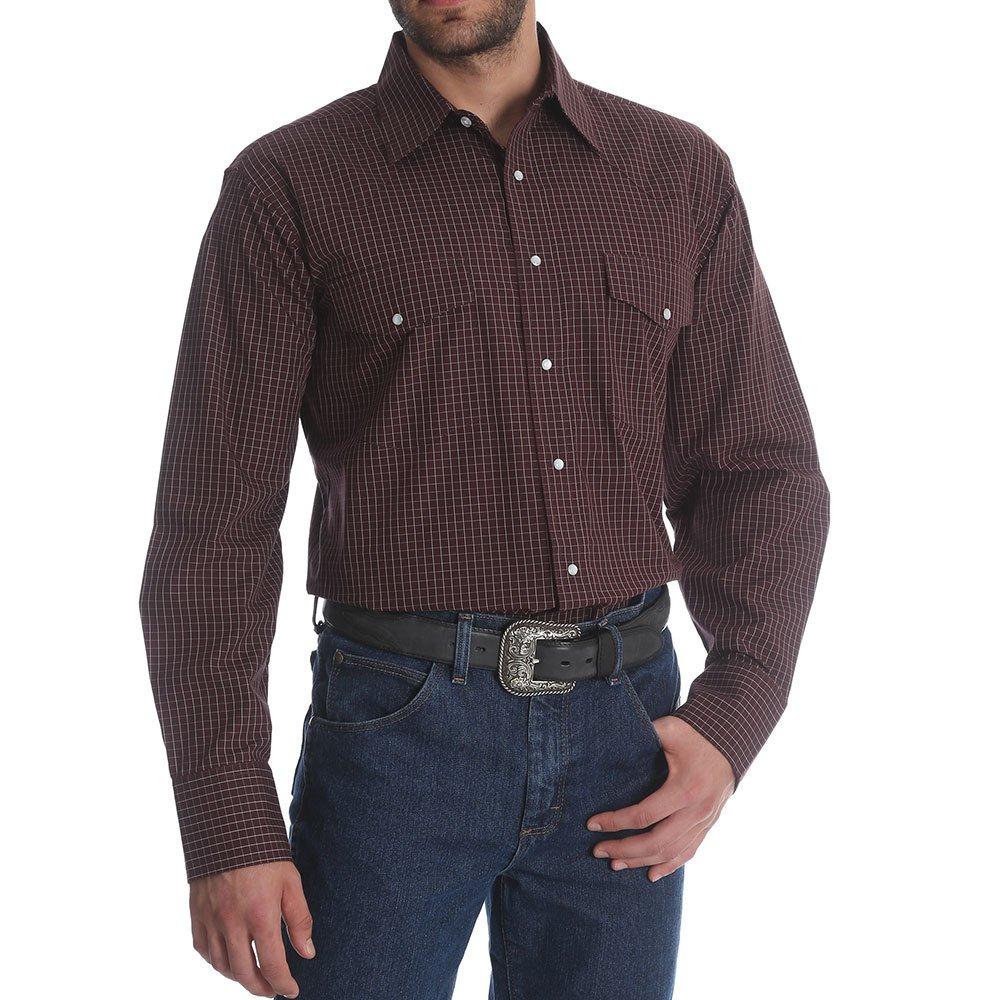 Wrangler Men's Burgundy Wrinkle Resistant Western Shirt Burgundy X-Large