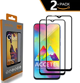 Protector de Pantalla Cobertura Completa para Samsung Galaxy M20 Cristal Vidrio Templado Compatible con Samsung Galaxy M20 6.3 Pulgadas Pegamento Adhesivo Completo Full Glue Negro 2-Pack: Amazon.es: Electrónica