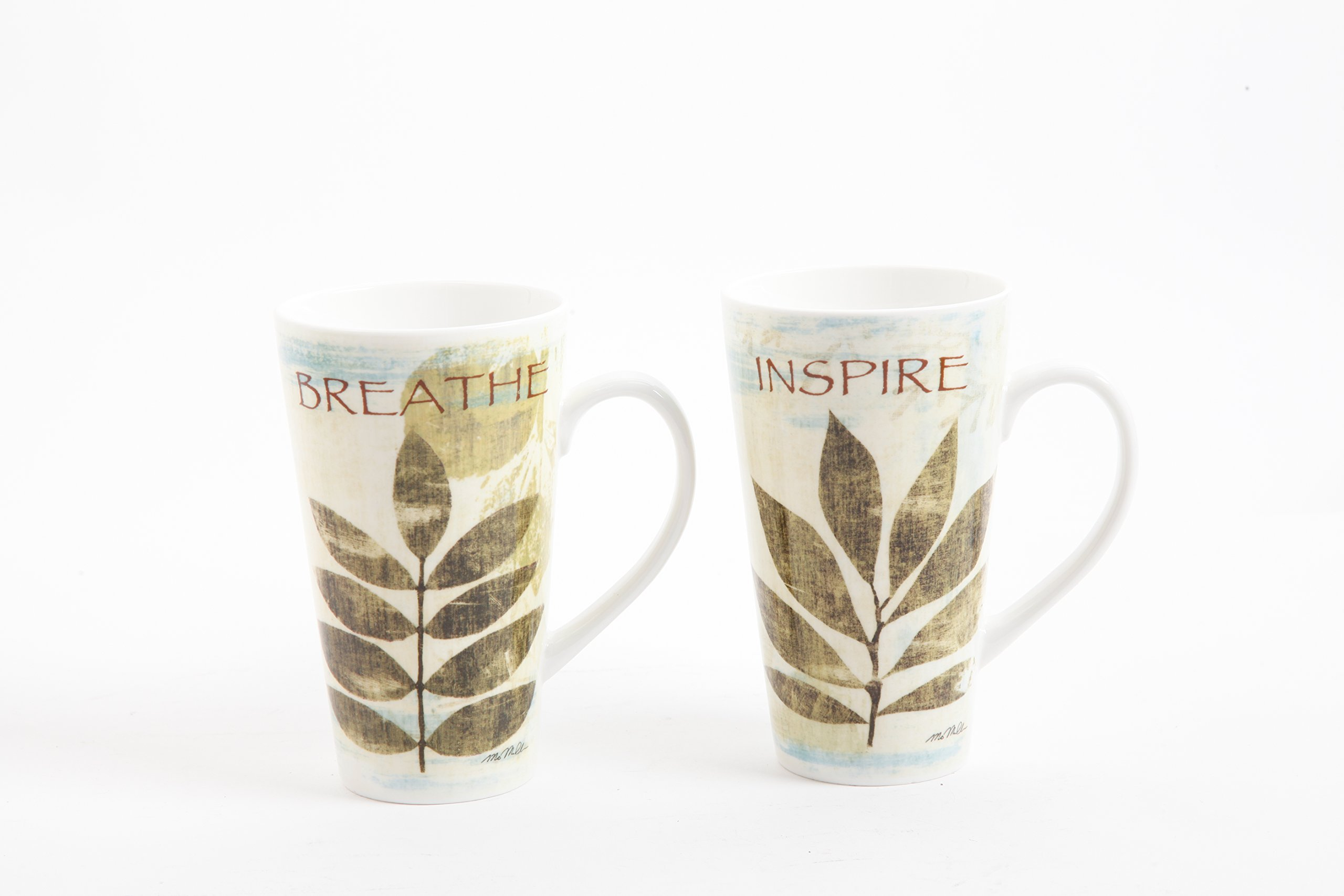 Gibson Home 92977.02RM Nature Pressed 2 Piece, 16 Ounce Breath and Inspire Mugs, Multicolor