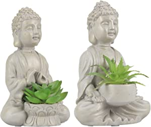 Buddha Succulents Artificial Decoration Zen Decor Cement Buddha Statue Office/Home Decor 2 PCS Gold