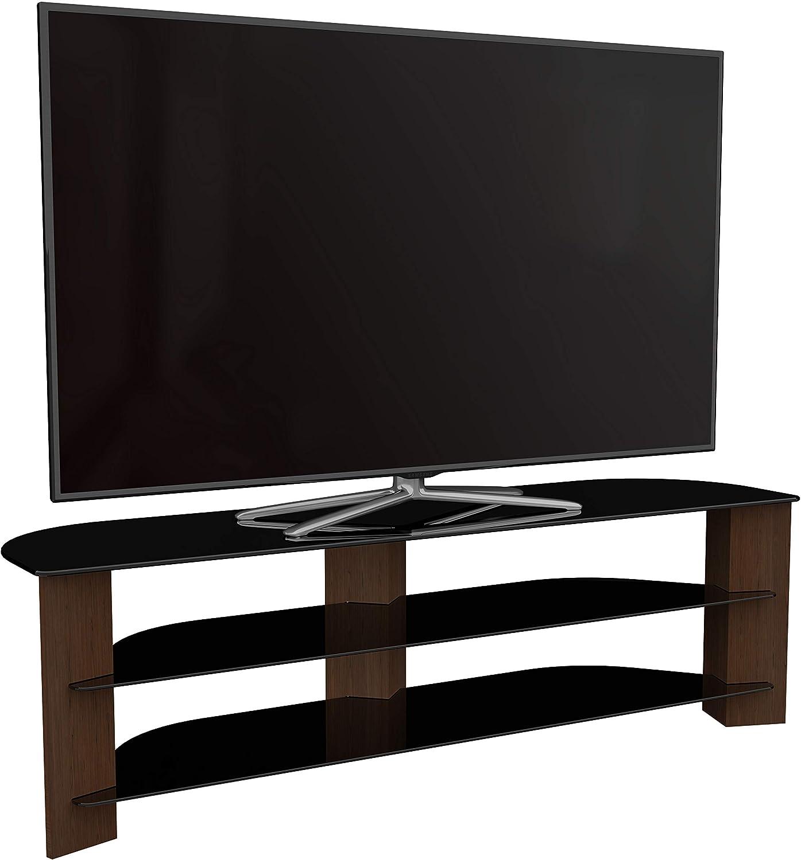 TV Furniture Direct - Mueble para televisor (efecto madera, con estantes de cristal negro, curvados, LED, 4K, plasma, etc.: Amazon.es: Electrónica