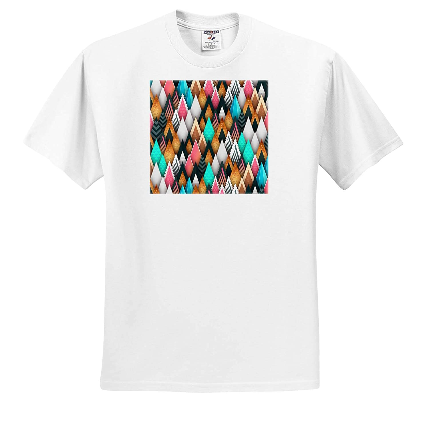 Geometric Abstract 3dRose Lens Art by Florene T-Shirts Image of Rows of Colored Triangle Tops