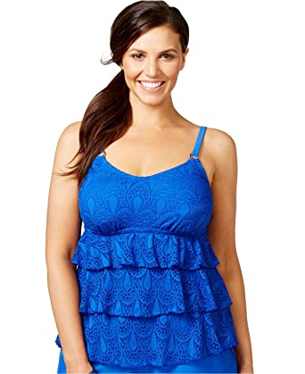 53c6c326722c4 Island Escape Women's Plus Size Tiered Crochet Tankini Top (18W, Blue) at Amazon  Women's Clothing store: