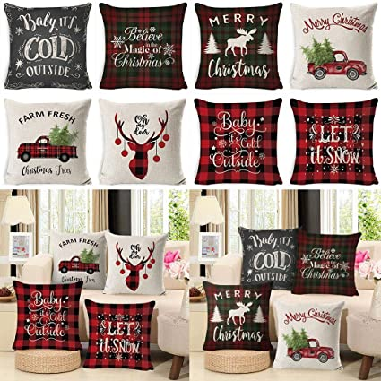 Dimandar Christmas Style Pillowcase Printed Soft Decoration Linen Cushion Cover 1PC