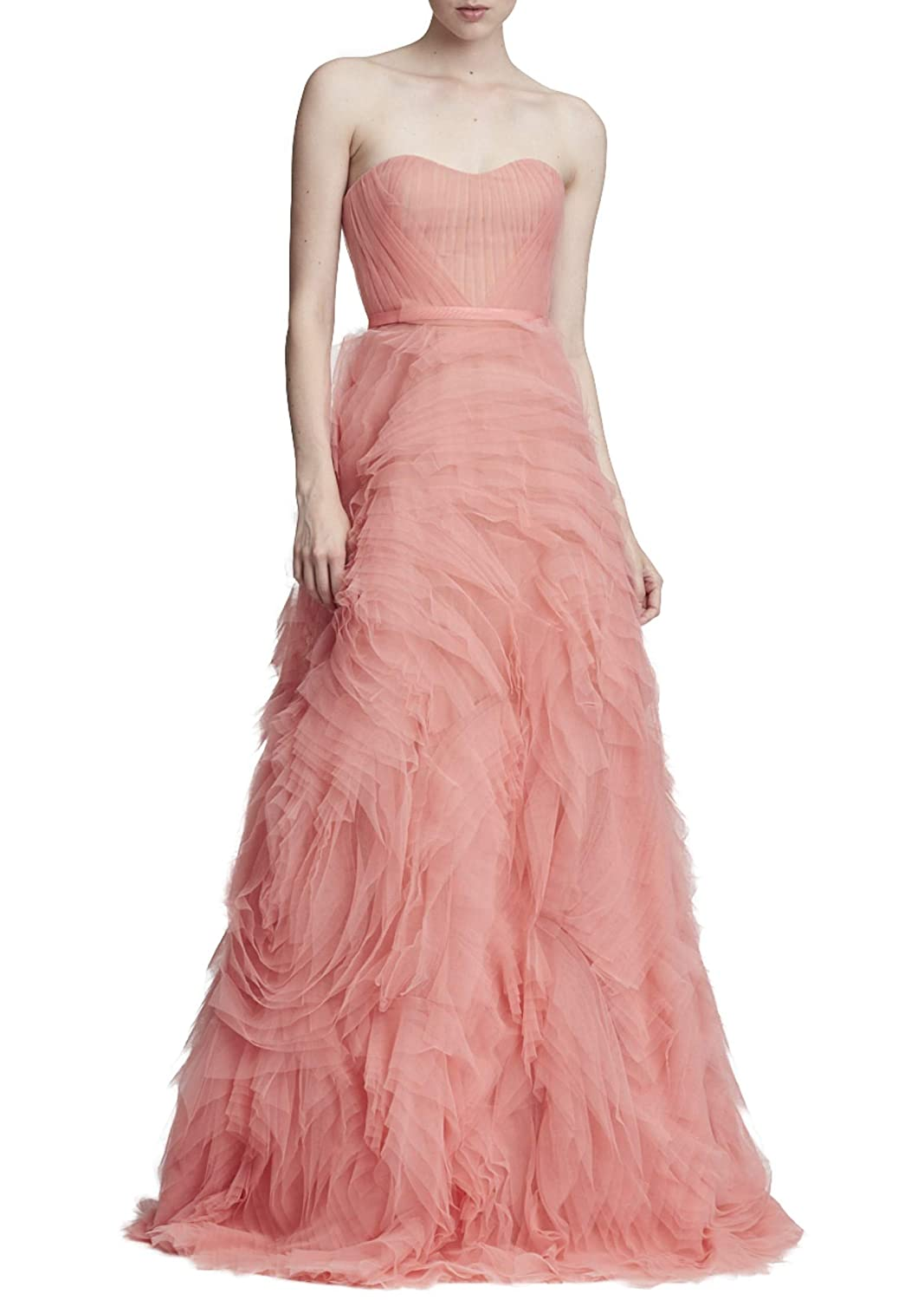 bcd939e555e46 Marchesa Notte Women s Strapless Textured Tulle Gown 14 Coral  Amazon.ca   Clothing   Accessories