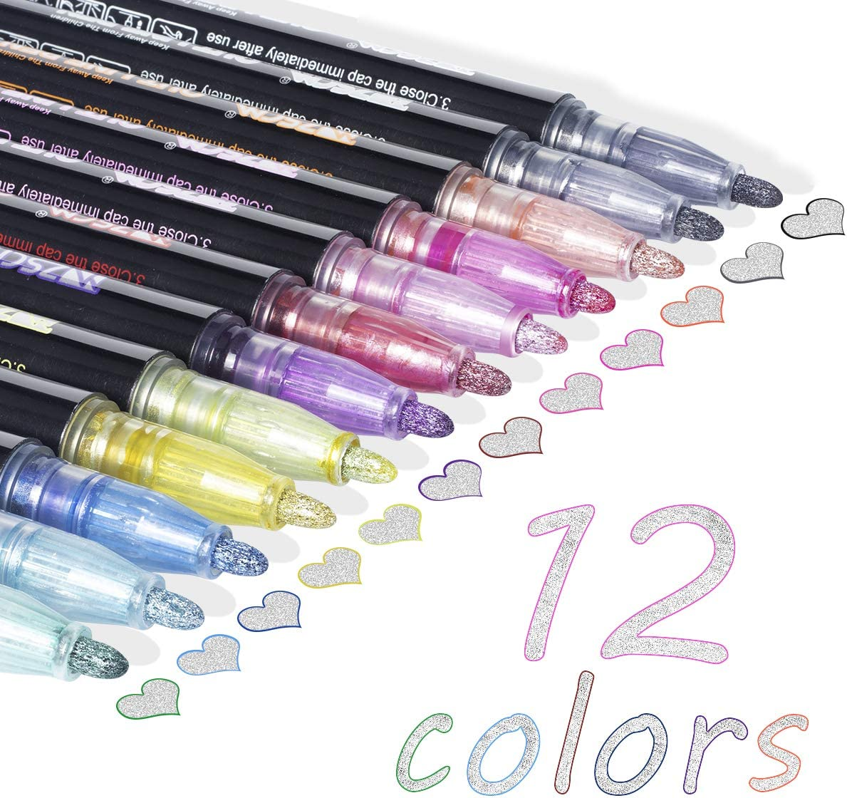 Set of 3 and Marker Cases Tin Pen 8 Inch Shimmer and Shine Pencil