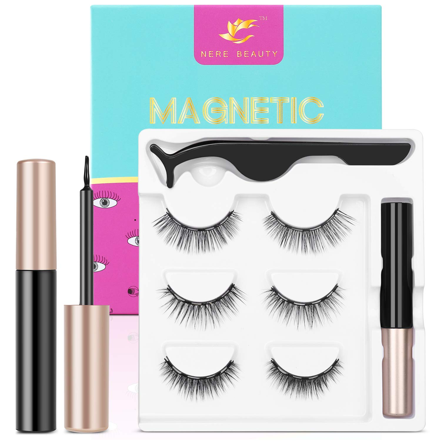2020 Upgraded Magnetic Eyelashes and Eyeliner Kit, Magnetic Eyeliner with Natural Look Reusable Premium Magnetic Eyelashes Athena 3 pairs NERE BEAUTY