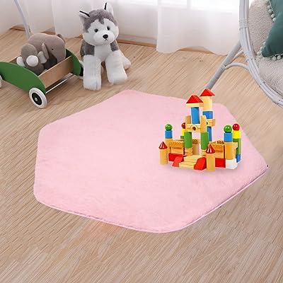 beebeerun Kids Play Mat Plush Carpet Rug Hexagon Coral Play Mat Rug for Princess Tent: Kitchen & Dining
