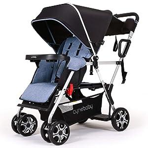 Double Stroller lux Sit N Stand Baby Pushchair Tandem Lightweight Stroller Compact Vista 2kid Pram Twin Toddler Citi Urban Strollers (Dark Blue)