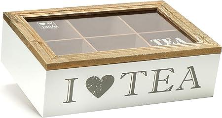 com-four® Caja de Almacenamiento para Bolsas de té - Caja de té Blanca de Madera con Tapa marrón - con 6 Compartimentos y Ventana de visualización de Vidrio (1 Pieza - 6 Compartimentos): Amazon.es: Hogar