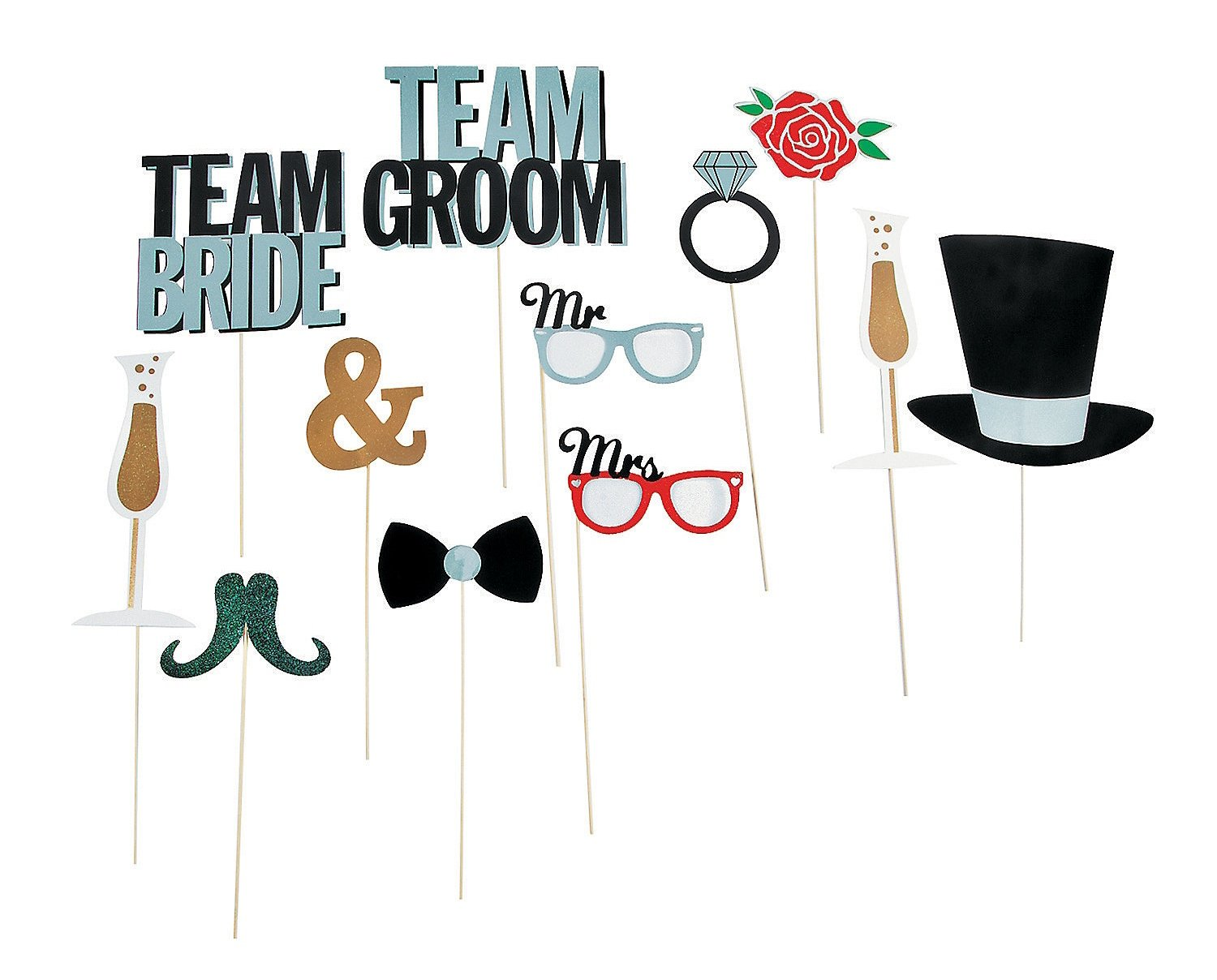 Amazon Wedding Party Photo Booth Costume Stick Props 12 Pcs