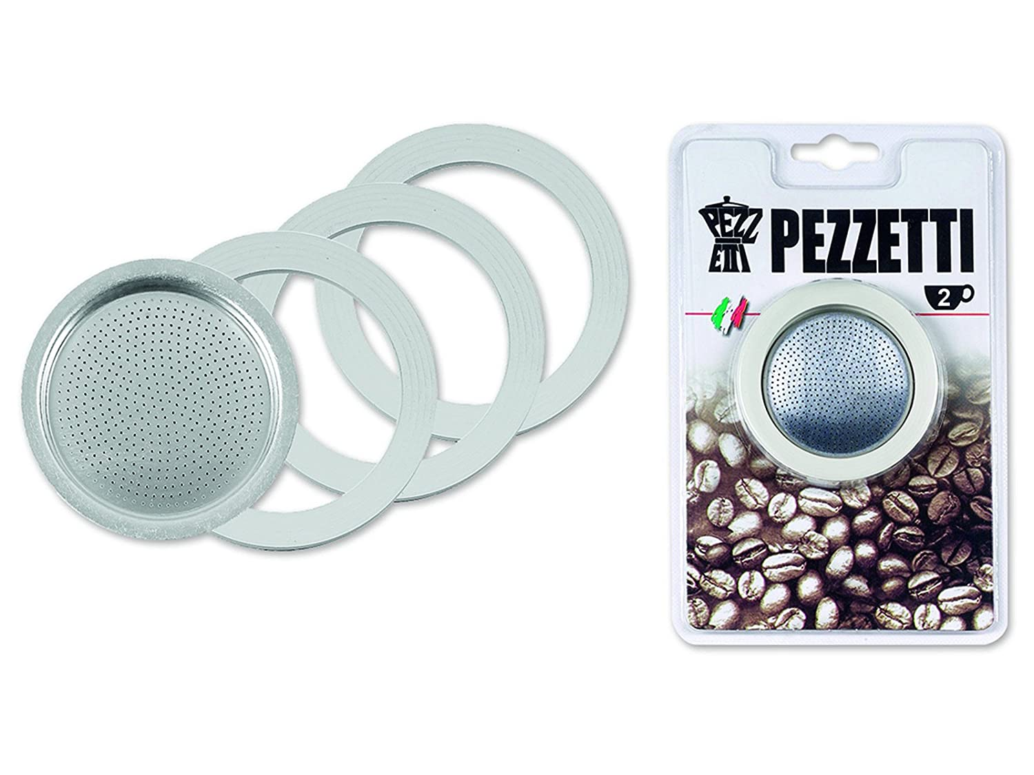 Pezzetti: Replacements (3 Rubber Rings + Filter) for 1-Cup Coffe Maker [ Italian Import ] PEZ018