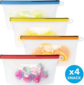 Reusable Silicone Food Storage Bag Set by Kiva.World - 4 Reusable Snack Bags Clear - Small Freezer Bags with Airtight Seal - Hermetic Food Bag for Fruits & Liquids - Storage for Fresh Lunch & Snack