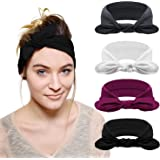 DRESHOW 4 Pack Bow Headband for Women Knotted Hair Band Facial Cloth Headbands