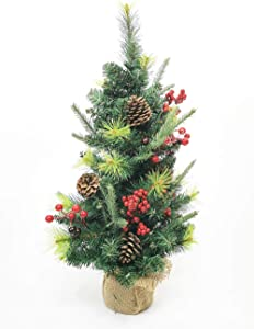 Showvigor 2 Foot Christmas Tree, Artificial Mini Christmas Tree with Red Berries and Pine Cones, for Christmas Indoor Outdoor Home Holiday or Festival Decor 24 Inch.(Includes Cloth Bag Base)