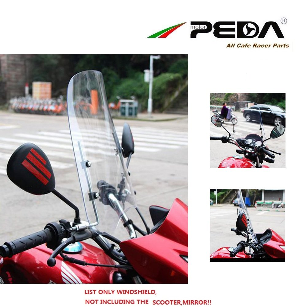 Universal Motorcycle Windshield Wind Deflector Scooter Windscreen PC 3mm Thick Screen PEDA