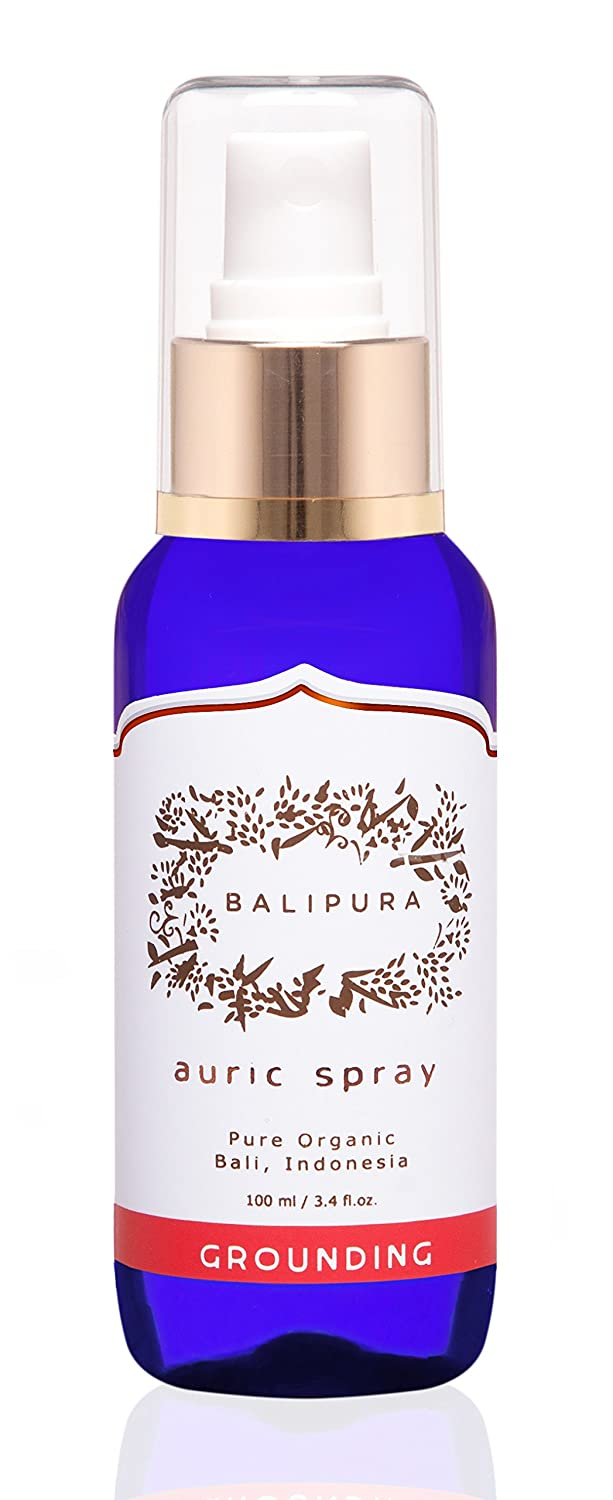 "Healing Crystals Auric Blends made with Vanilla & Ginger Pure Organic Essential Oils, Black Tourmaline, Smoky Quartz & Hematite. Balipura ""Grounding"" Aura Mist handmade in Bali, 100ml/3.4 fl.oz."