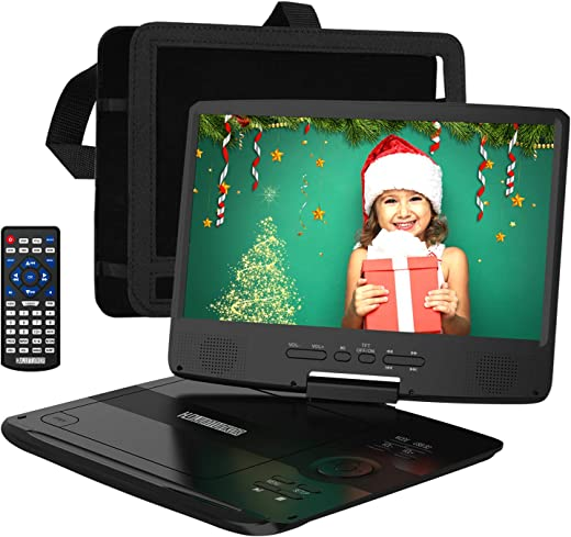 """Portable DVD Player 12.5"""" with 10.1"""" HD Swivel Display Screen, Support CD/DVD/SD Card/USB"""