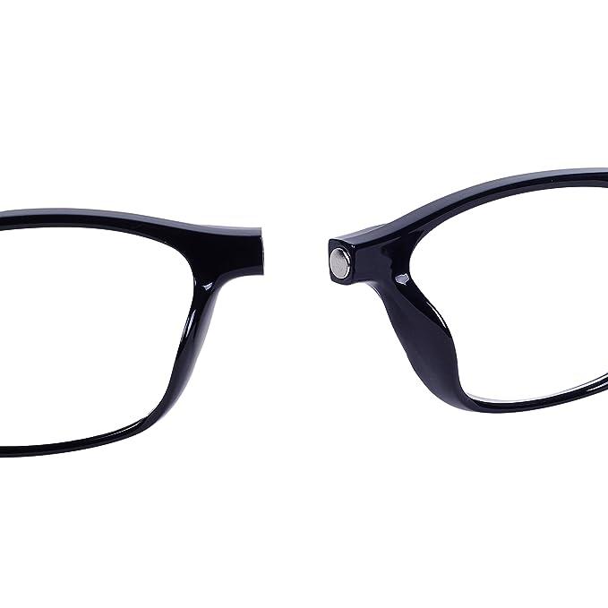 QIXU Magnetiques Lunettes de Lecture Presbyte 1.5 pour Homme et Femme  Aimantées Lunettes pour Lire Pliables Régables Monture Noir Lens  Transparentes ... 69fa8739144d