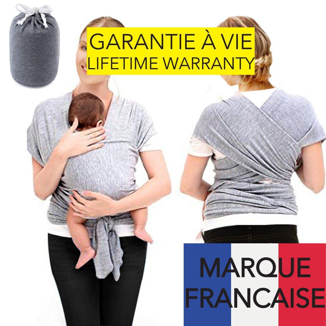 TAKIT Echarpe De Portage Bébé - Coton Naturel, Garantie à Vie - Gris BS1