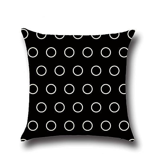 Fundas de almohada ihrkleid® Negro de color blanco cojín almohada Geometría Cross Flecha Wave Dot puntos de cama Cushion Cover 45 * 45 cm, algodón, ...
