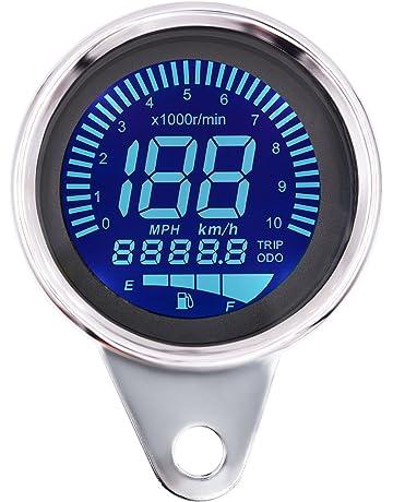 ShinePick 10000 RPM Velocimetro Moto LCD Aluminum Velocímetro + Tacómetro Digital 7 LED Color + Odómetro