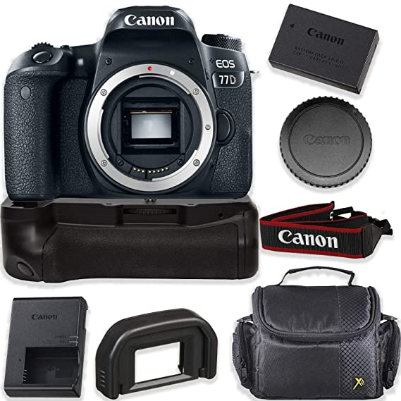 Canon EOS 77D 24.2MP DSLR Camera  Body Only  Kit with Pro Battery Grip  amp; Deluxe Camera Shoulder Case Digital Cameras