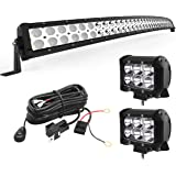 YITAMOTOR LED Light Bar 288W Curved 50 inches Light Bar Combo & 2pc 18W Spot Light Pods & Wiring Harness Compatible for…